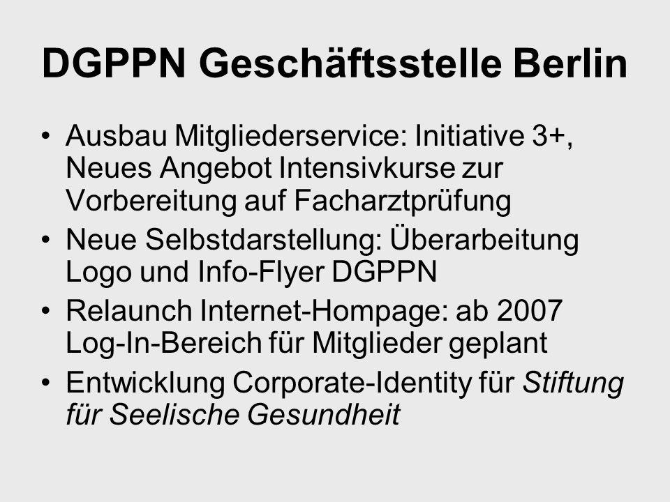 DGPPN Geschäftsstelle Berlin Ausbau Mitgliederservice: Initiative 3+, Neues Angebot Intensivkurse zur Vorbereitung auf Facharztprüfung Neue Selbstdars