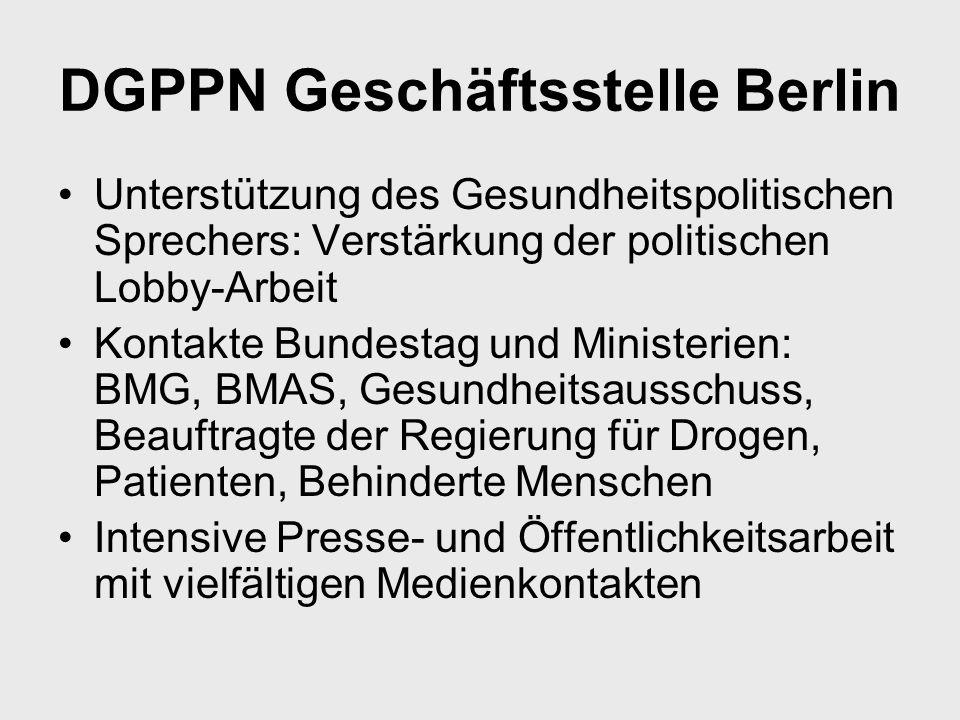 DGPPN Geschäftsstelle Berlin Unterstützung des Gesundheitspolitischen Sprechers: Verstärkung der politischen Lobby-Arbeit Kontakte Bundestag und Minis
