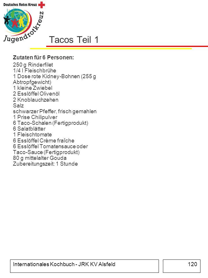 Internationales Kochbuch - JRK KV Alsfeld120 Tacos Teil 1 Zutaten für 6 Personen: 250 g Rinderfilet 1/4 l Fleischbrühe 1 Dose rote Kidney-Bohnen (255