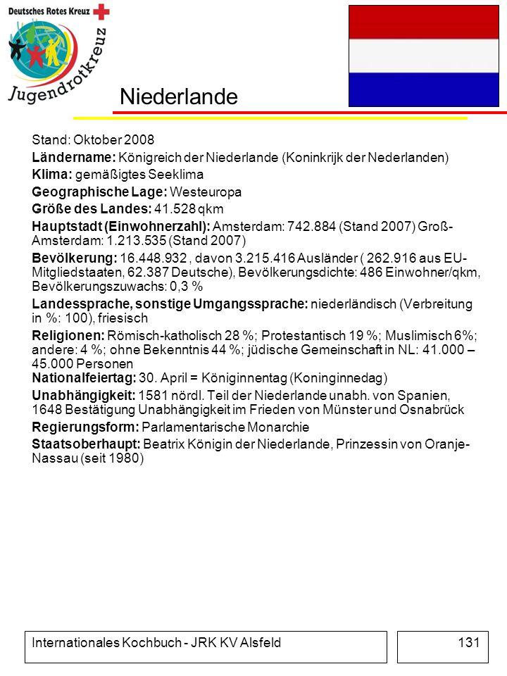 Internationales Kochbuch - JRK KV Alsfeld131 Niederlande Stand: Oktober 2008 Ländername: Königreich der Niederlande (Koninkrijk der Nederlanden) Klima