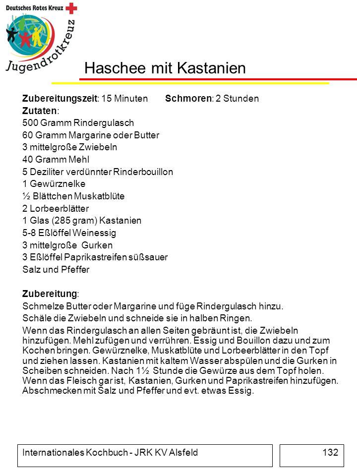 Internationales Kochbuch - JRK KV Alsfeld132 Haschee mit Kastanien Zubereitungszeit: 15 Minuten Schmoren: 2 Stunden Zutaten: 500 Gramm Rindergulasch 6