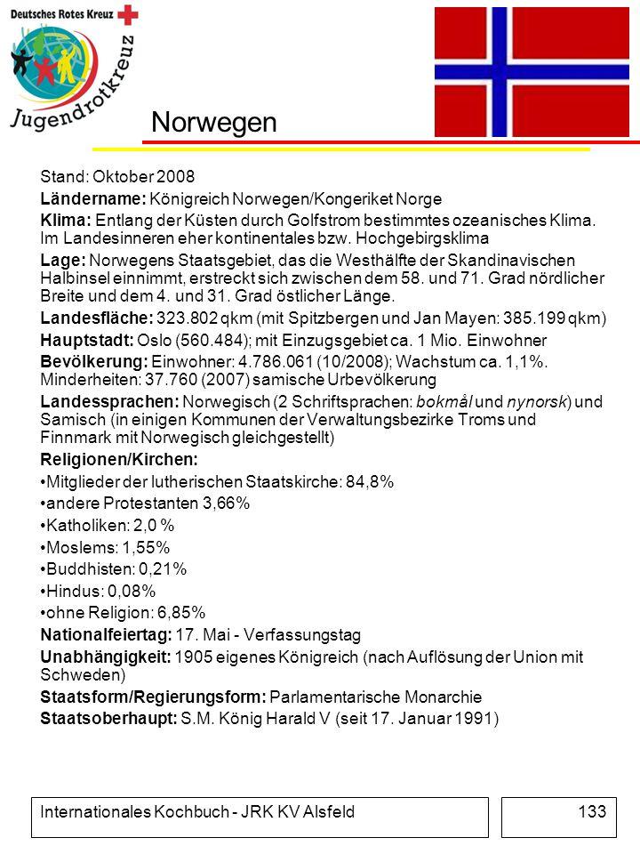 Internationales Kochbuch - JRK KV Alsfeld133 Norwegen Stand: Oktober 2008 Ländername: Königreich Norwegen/Kongeriket Norge Klima: Entlang der Küsten d
