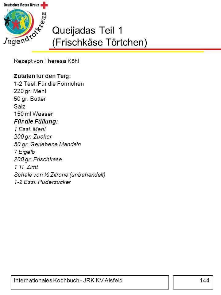 Internationales Kochbuch - JRK KV Alsfeld144 Queijadas Teil 1 (Frischkäse Törtchen) Rezept von Theresa Köhl Zutaten für den Teig: 1-2 Teel. Für die Fö