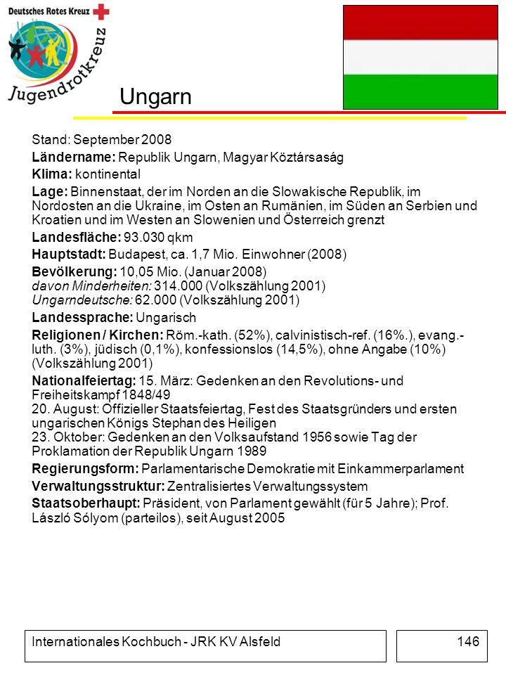 Internationales Kochbuch - JRK KV Alsfeld146 Ungarn Stand: September 2008 Ländername: Republik Ungarn, Magyar Köztársaság Klima: kontinental Lage: Bin