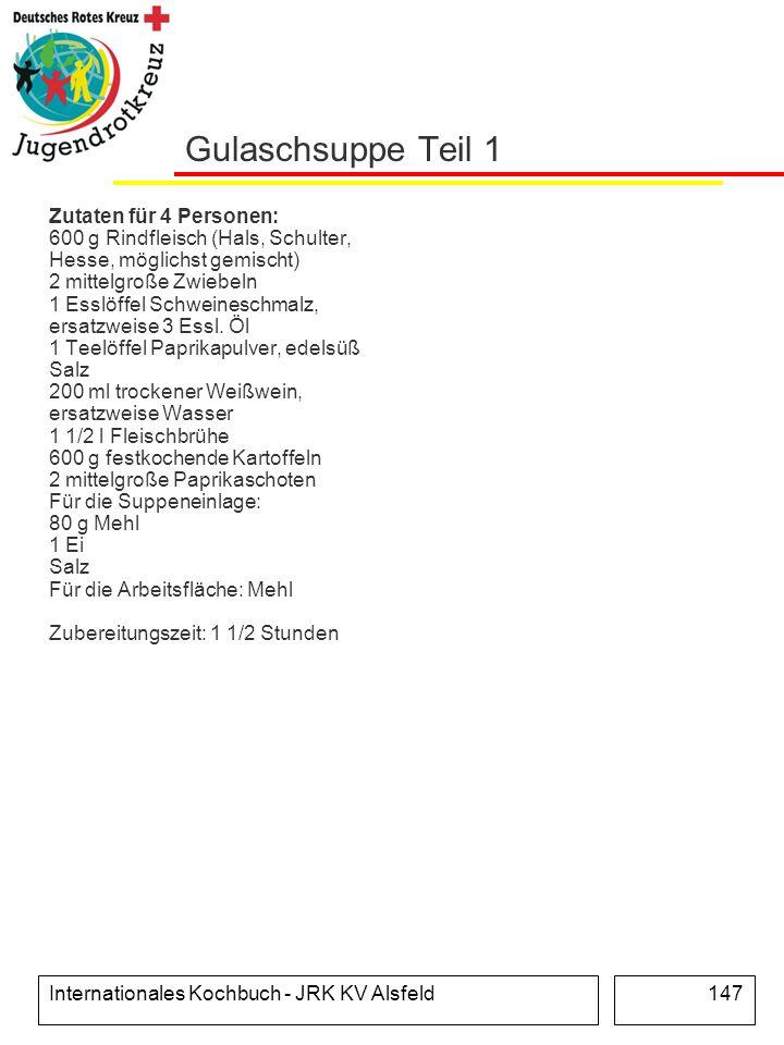 Internationales Kochbuch - JRK KV Alsfeld147 Gulaschsuppe Teil 1 Zutaten für 4 Personen: 600 g Rindfleisch (Hals, Schulter, Hesse, möglichst gemischt)