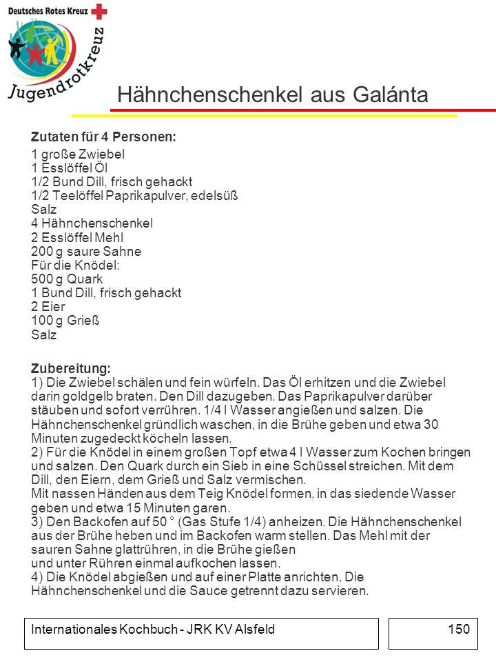 Internationales Kochbuch - JRK KV Alsfeld150 Hähnchenschenkel aus Galánta Zutaten für 4 Personen: 1 große Zwiebel 1 Esslöffel Öl 1/2 Bund Dill, frisch