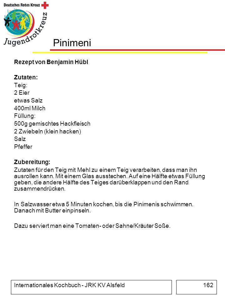 Internationales Kochbuch - JRK KV Alsfeld162 Pinimeni Rezept von Benjamin Hübl Zutaten: Teig: 2 Eier etwas Salz 400ml Milch Füllung: 500g gemischtes H