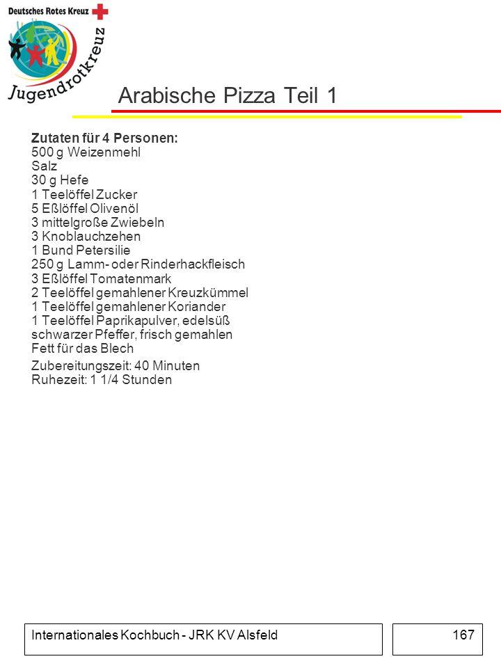 Internationales Kochbuch - JRK KV Alsfeld167 Arabische Pizza Teil 1 Zutaten für 4 Personen: 500 g Weizenmehl Salz 30 g Hefe 1 Teelöffel Zucker 5 Eßlöf