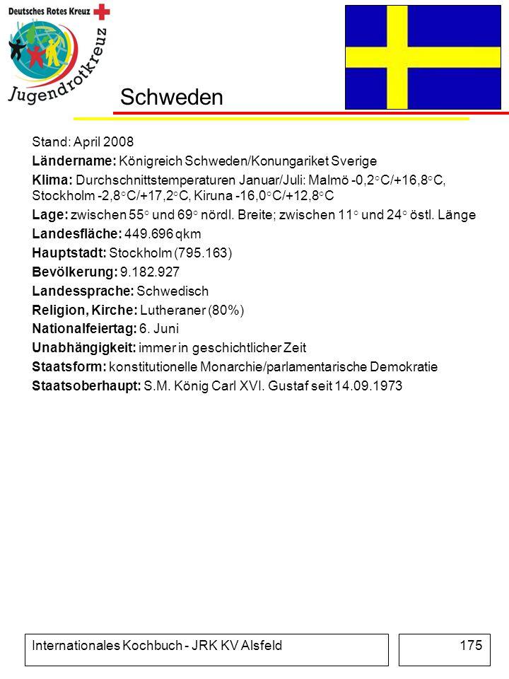 Internationales Kochbuch - JRK KV Alsfeld175 Schweden Stand: April 2008 Ländername: Königreich Schweden/Konungariket Sverige Klima: Durchschnittstempe