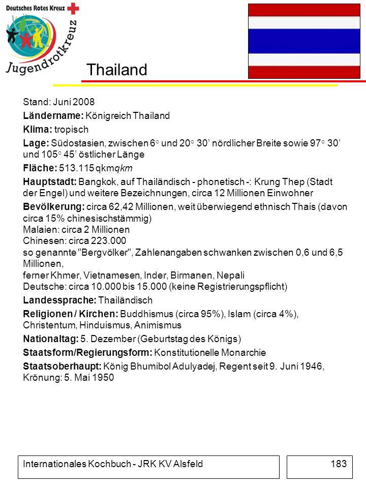 Internationales Kochbuch - JRK KV Alsfeld183 Thailand Stand: Juni 2008 Ländername: Königreich Thailand Klima: tropisch Lage: Südostasien, zwischen 6°