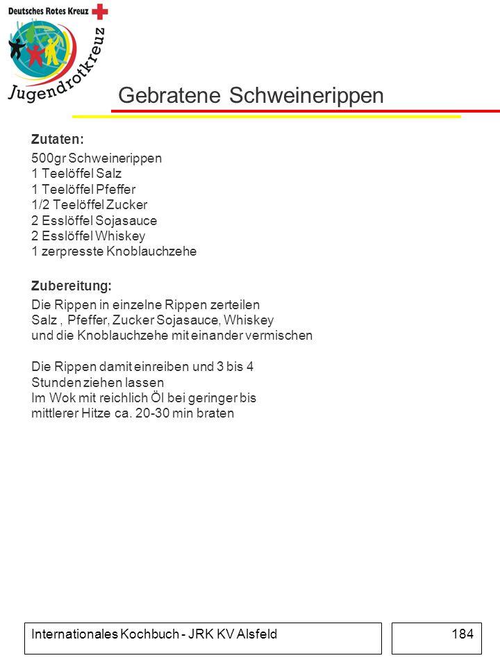 Internationales Kochbuch - JRK KV Alsfeld184 Gebratene Schweinerippen Zutaten: 500gr Schweinerippen 1 Teelöffel Salz 1 Teelöffel Pfeffer 1/2 Teelöffel