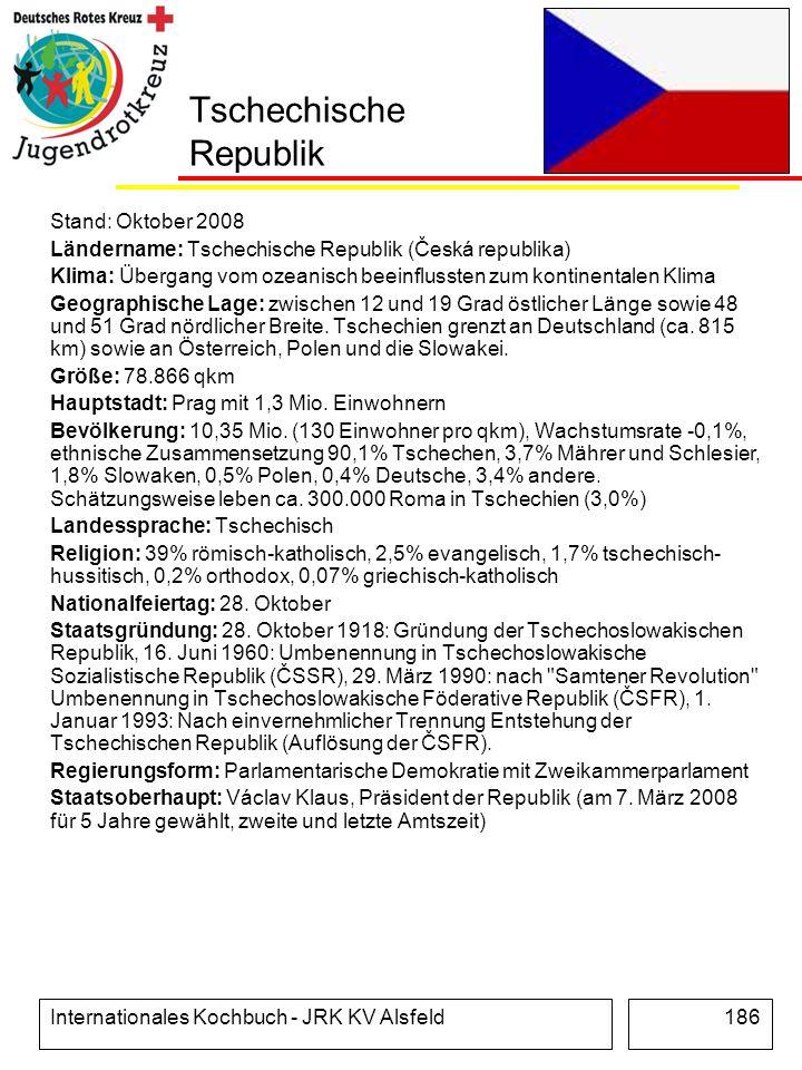 Internationales Kochbuch - JRK KV Alsfeld186 Tschechische Republik Stand: Oktober 2008 Ländername: Tschechische Republik (Česká republika) Klima: Über