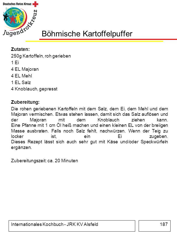 Internationales Kochbuch - JRK KV Alsfeld187 Böhmische Kartoffelpuffer Zutaten: 250g Kartoffeln, roh gerieben 1 Ei 4 EL Majoran 4 EL Mehl 1 EL Salz 4