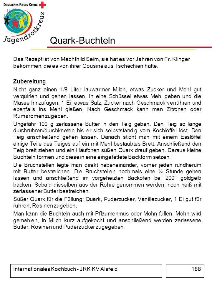 Internationales Kochbuch - JRK KV Alsfeld188 Quark-Buchteln Das Rezept ist von Mechthild Seim, sie hat es vor Jahren von Fr. Klinger bekommen, die es