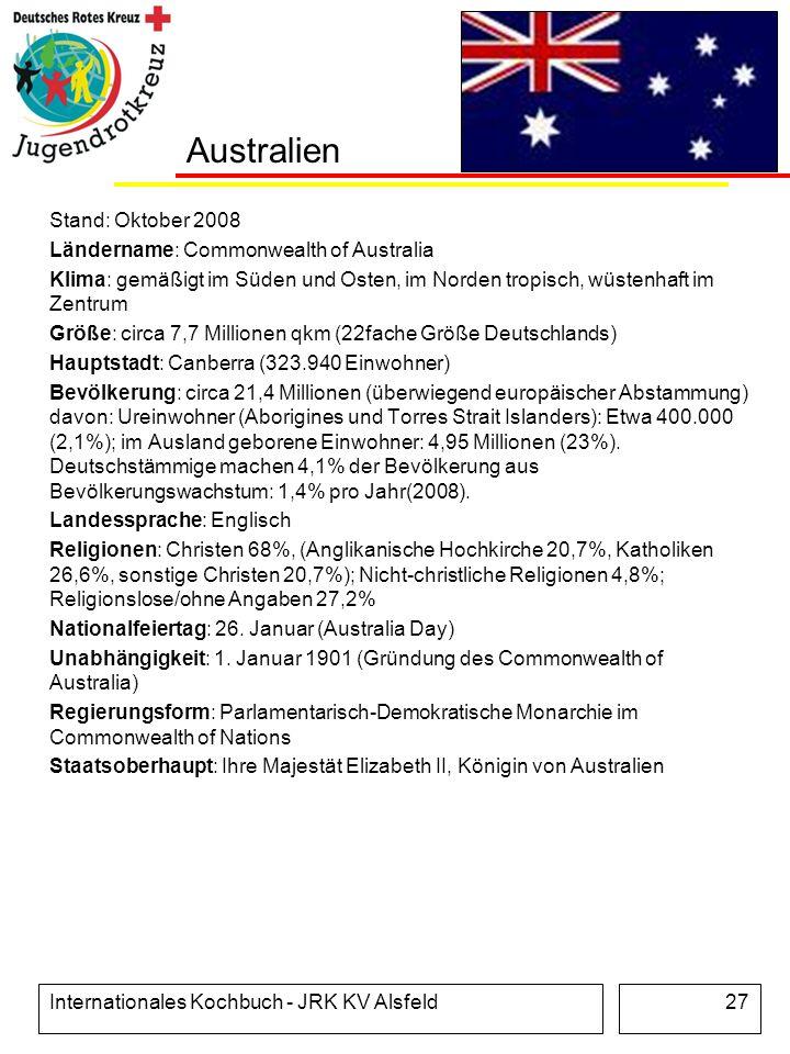 Internationales Kochbuch - JRK KV Alsfeld27 Australien Stand: Oktober 2008 Ländername: Commonwealth of Australia Klima: gemäßigt im Süden und Osten, i