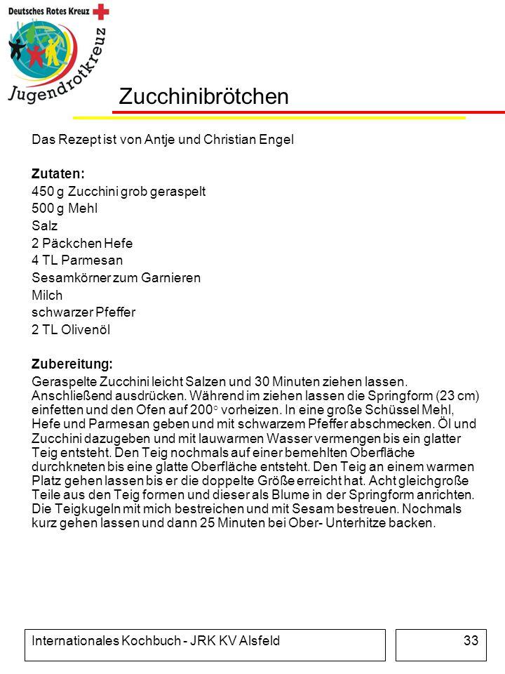 Internationales Kochbuch - JRK KV Alsfeld33 Zucchinibrötchen Das Rezept ist von Antje und Christian Engel Zutaten: 450 g Zucchini grob geraspelt 500 g