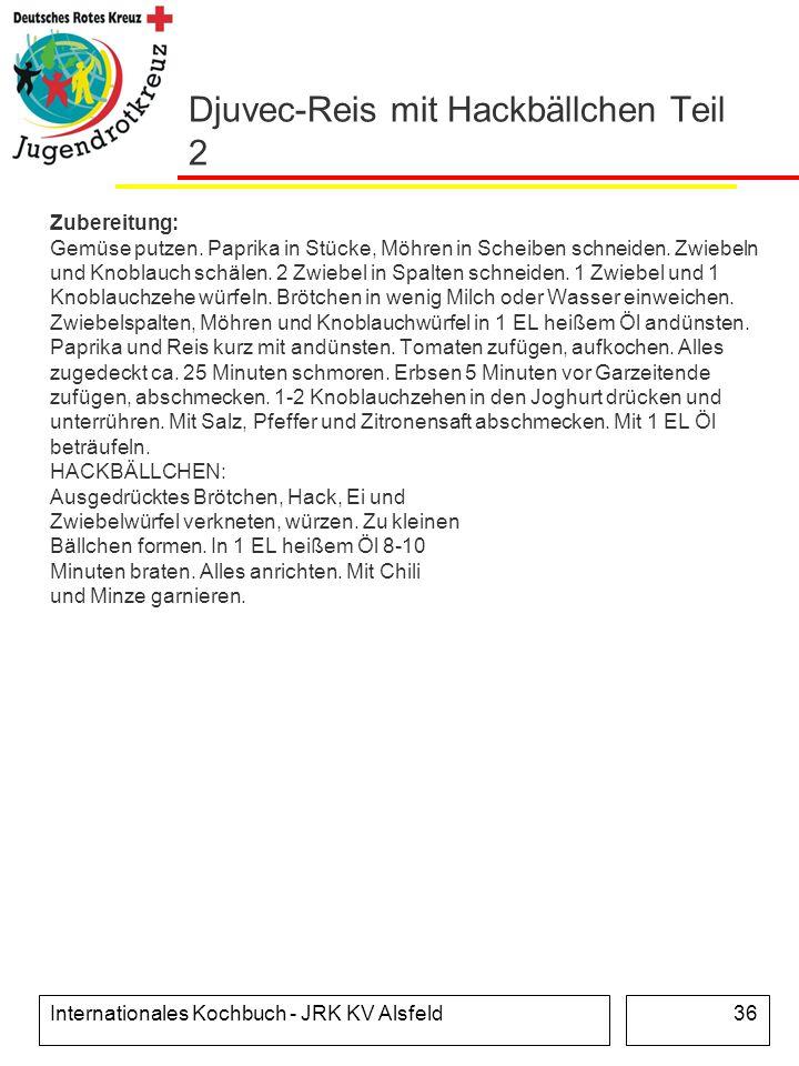 Internationales Kochbuch - JRK KV Alsfeld36 Djuvec-Reis mit Hackbällchen Teil 2 Zubereitung: Gemüse putzen. Paprika in Stücke, Möhren in Scheiben schn