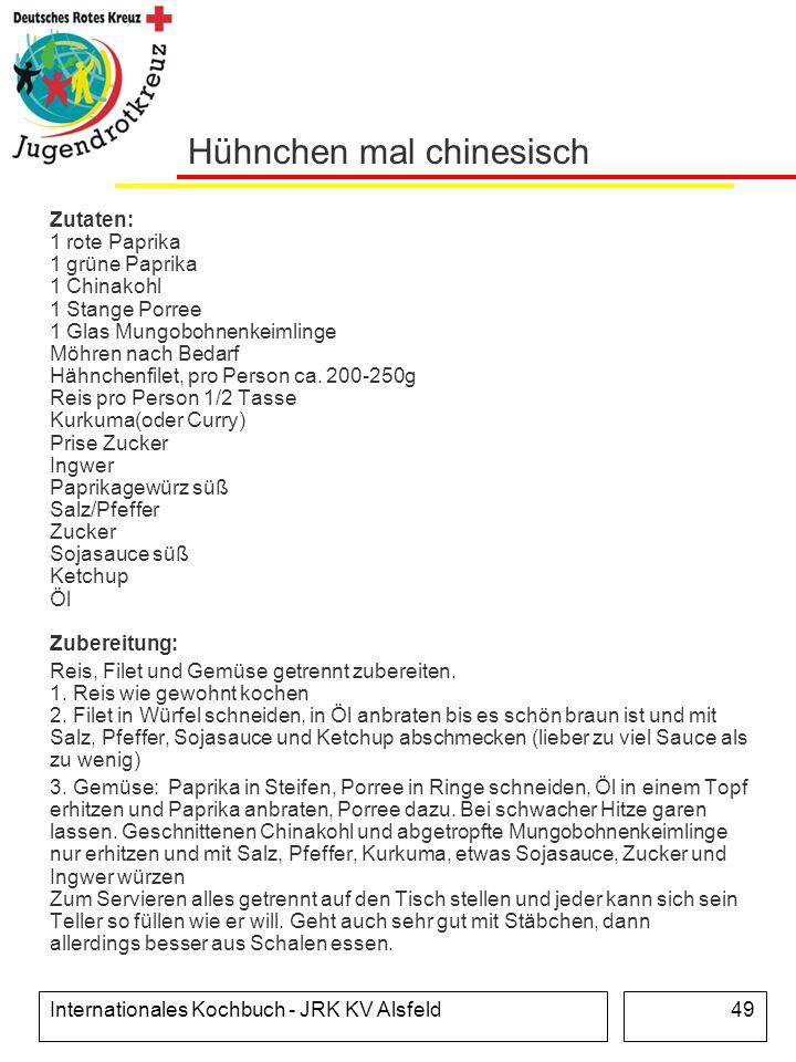 Internationales Kochbuch - JRK KV Alsfeld49 Hühnchen mal chinesisch Zutaten: 1 rote Paprika 1 grüne Paprika 1 Chinakohl 1 Stange Porree 1 Glas Mungobo