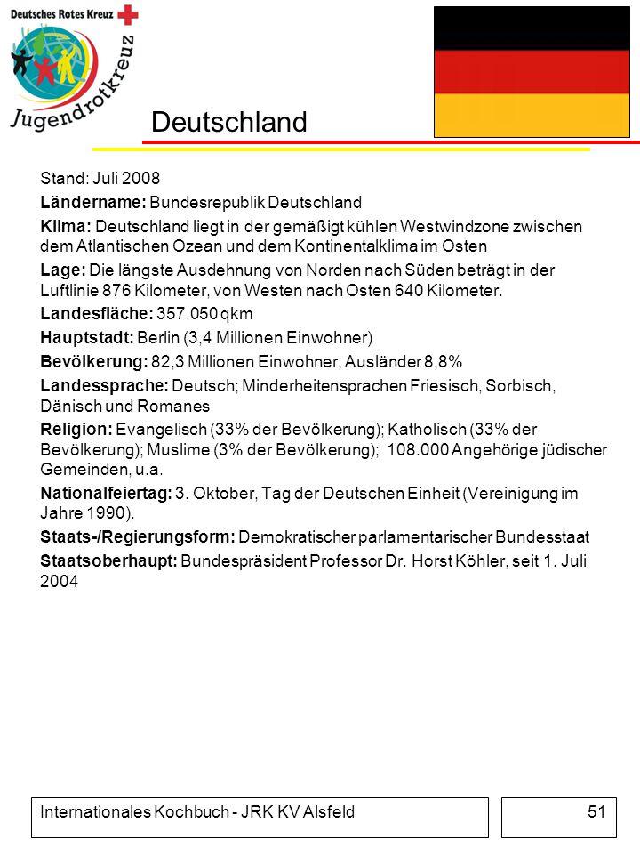 Internationales Kochbuch - JRK KV Alsfeld51 Deutschland Stand: Juli 2008 Ländername: Bundesrepublik Deutschland Klima: Deutschland liegt in der gemäßi