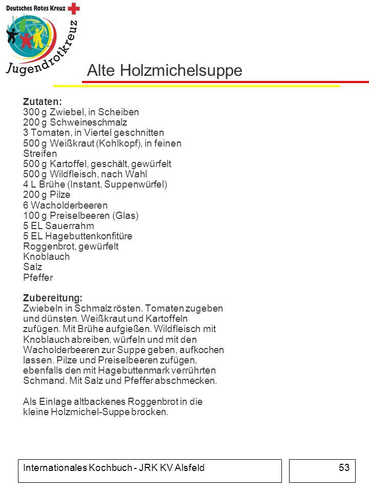 Internationales Kochbuch - JRK KV Alsfeld53 Alte Holzmichelsuppe Zutaten: 300 g Zwiebel, in Scheiben 200 g Schweineschmalz 3 Tomaten, in Viertel gesch