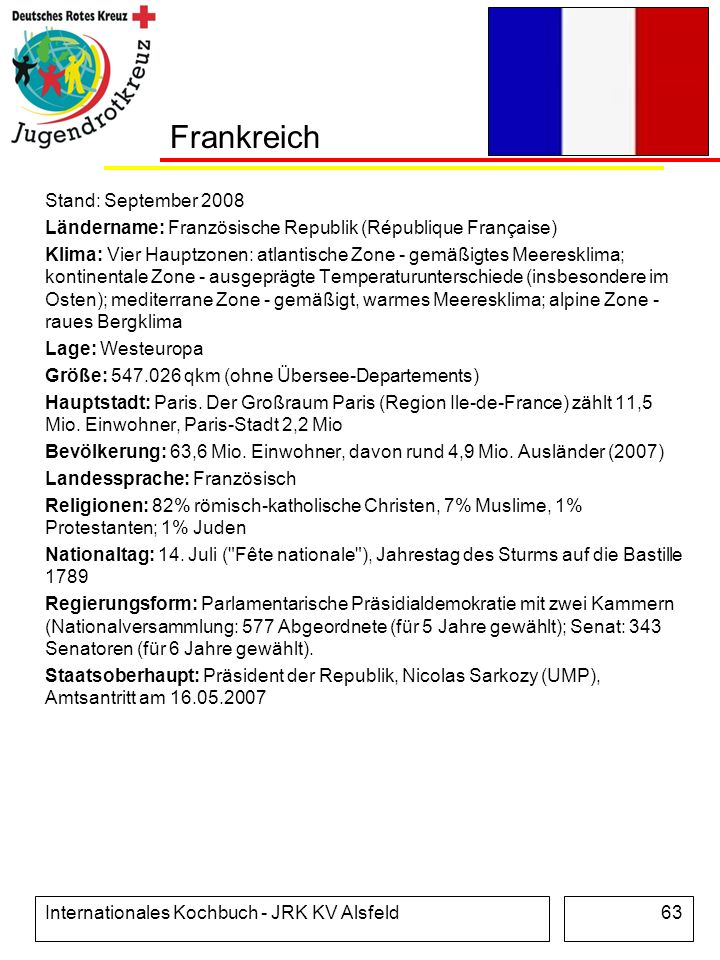 Internationales Kochbuch - JRK KV Alsfeld63 Frankreich Stand: September 2008 Ländername: Französische Republik (République Française) Klima: Vier Haup