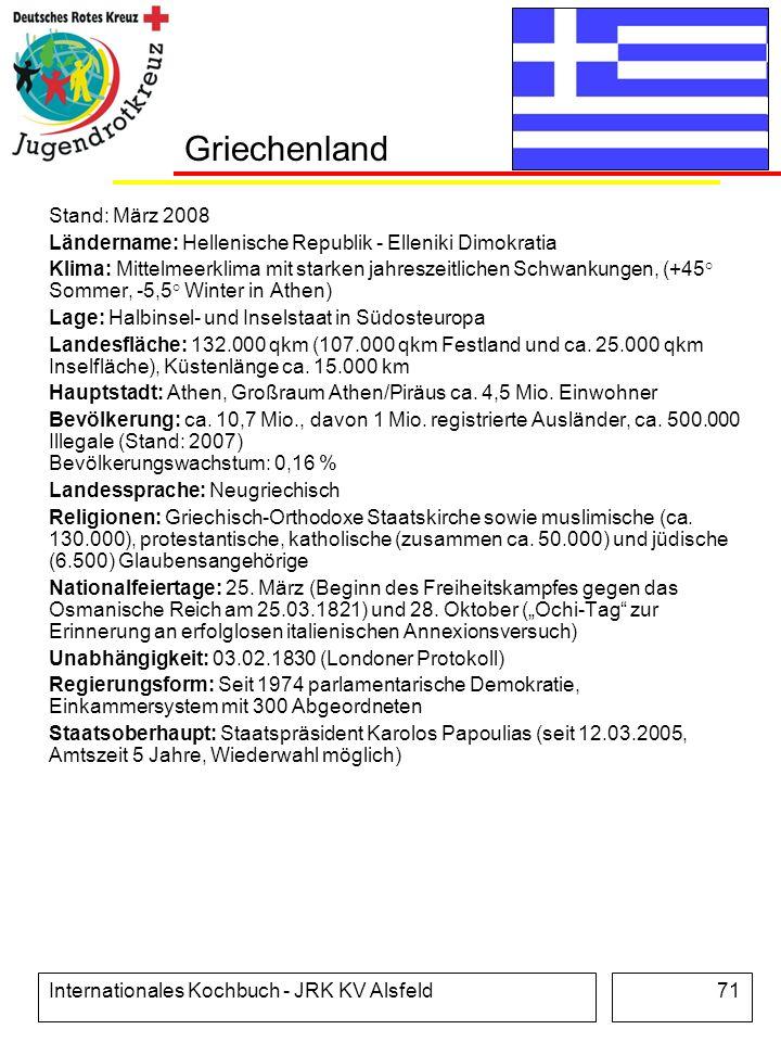 Internationales Kochbuch - JRK KV Alsfeld71 Griechenland Stand: März 2008 Ländername: Hellenische Republik - Elleniki Dimokratia Klima: Mittelmeerklim
