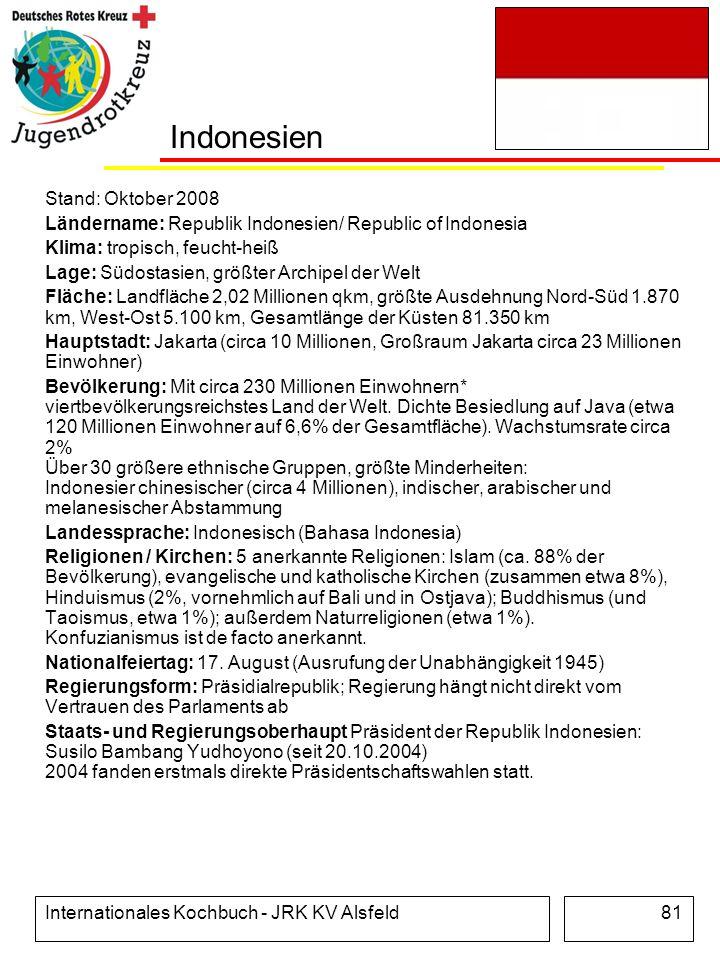 Internationales Kochbuch - JRK KV Alsfeld81 Indonesien Stand: Oktober 2008 Ländername: Republik Indonesien/ Republic of Indonesia Klima: tropisch, feu