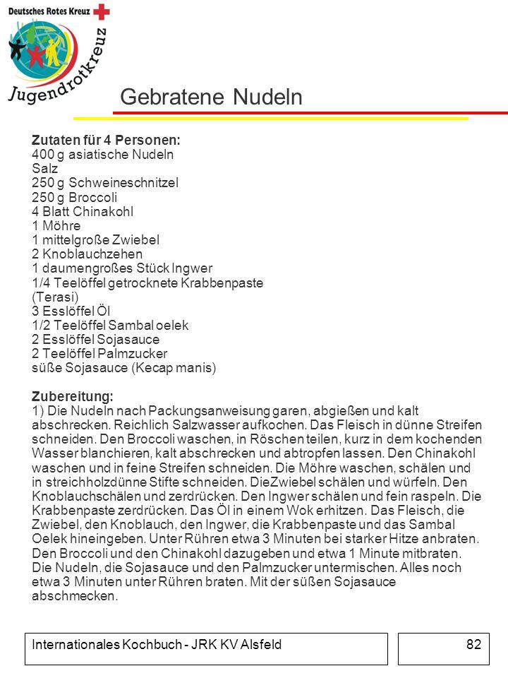 Internationales Kochbuch - JRK KV Alsfeld82 Gebratene Nudeln Zutaten für 4 Personen: 400 g asiatische Nudeln Salz 250 g Schweineschnitzel 250 g Brocco