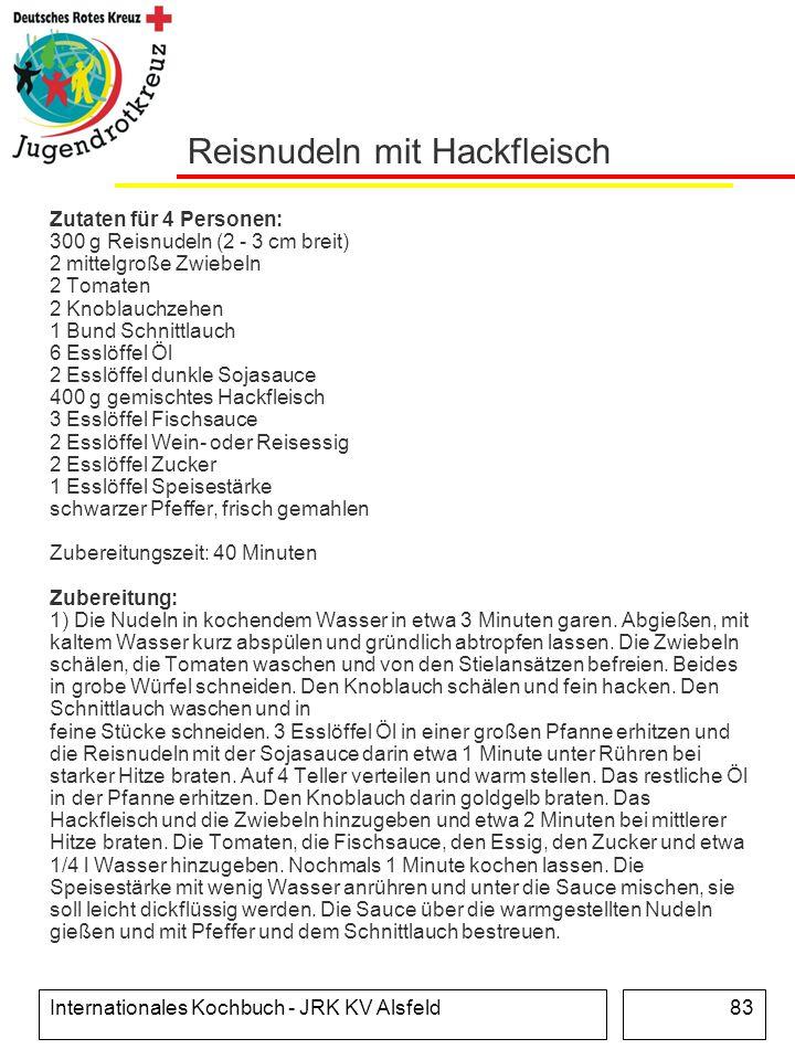 Internationales Kochbuch - JRK KV Alsfeld83 Reisnudeln mit Hackfleisch Zutaten für 4 Personen: 300 g Reisnudeln (2 - 3 cm breit) 2 mittelgroße Zwiebel