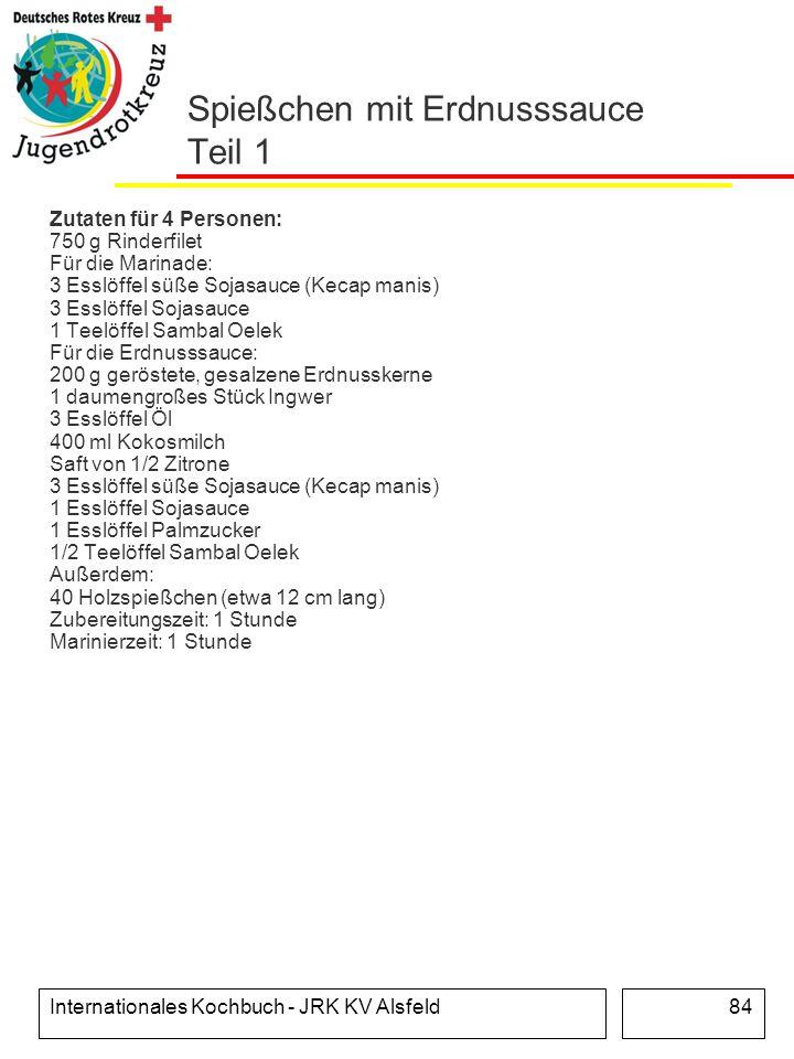 Internationales Kochbuch - JRK KV Alsfeld84 Spießchen mit Erdnusssauce Teil 1 Zutaten für 4 Personen: 750 g Rinderfilet Für die Marinade: 3 Esslöffel