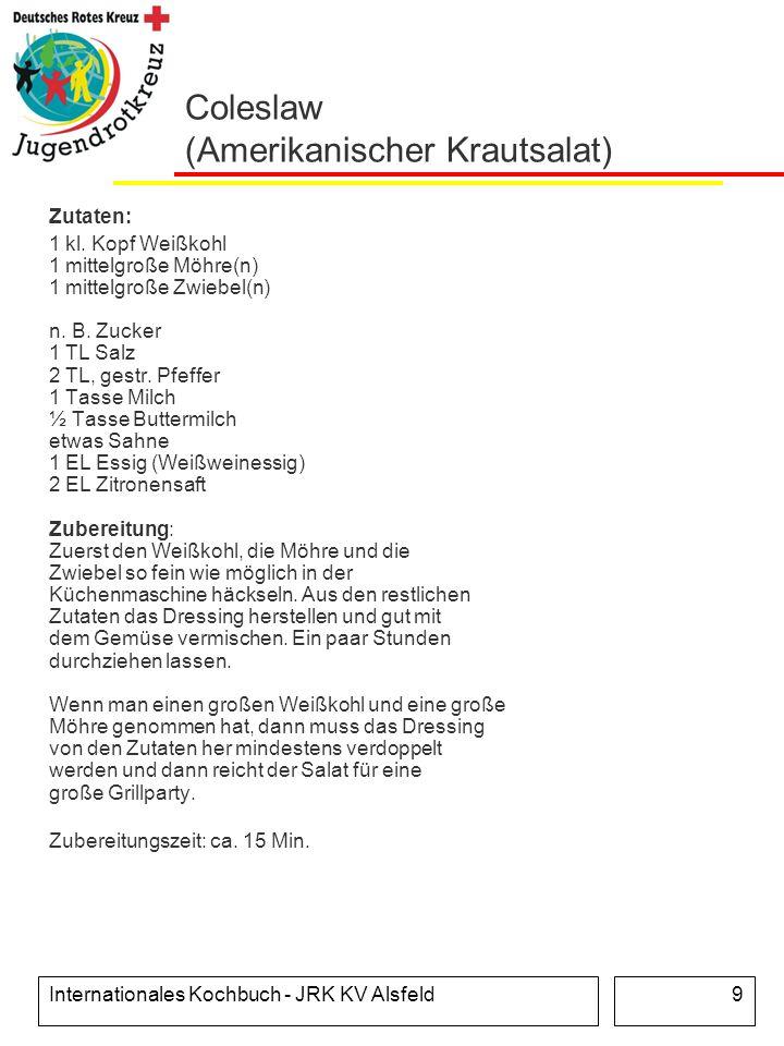 Internationales Kochbuch - JRK KV Alsfeld9 Coleslaw (Amerikanischer Krautsalat) Zutaten: 1 kl. Kopf Weißkohl 1 mittelgroße Möhre(n) 1 mittelgroße Zwie