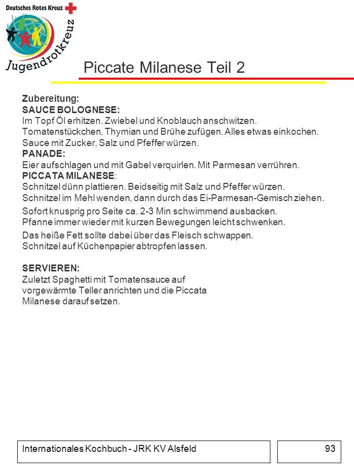 Internationales Kochbuch - JRK KV Alsfeld93 Piccate Milanese Teil 2 Zubereitung: SAUCE BOLOGNESE: Im Topf Öl erhitzen. Zwiebel und Knoblauch anschwitz