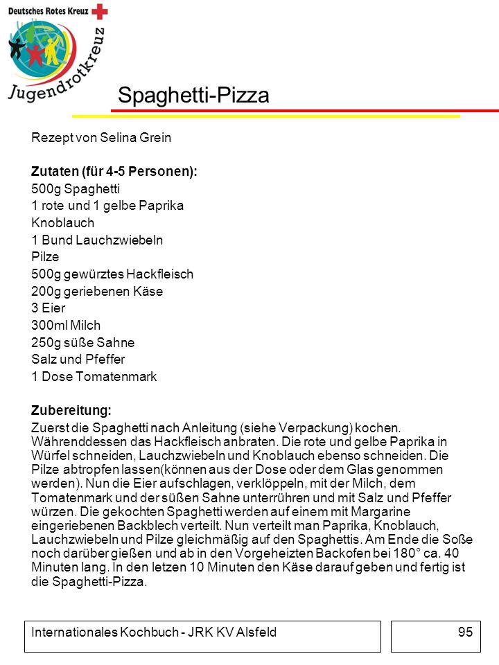 Internationales Kochbuch - JRK KV Alsfeld95 Spaghetti-Pizza Rezept von Selina Grein Zutaten (für 4-5 Personen): 500g Spaghetti 1 rote und 1 gelbe Papr