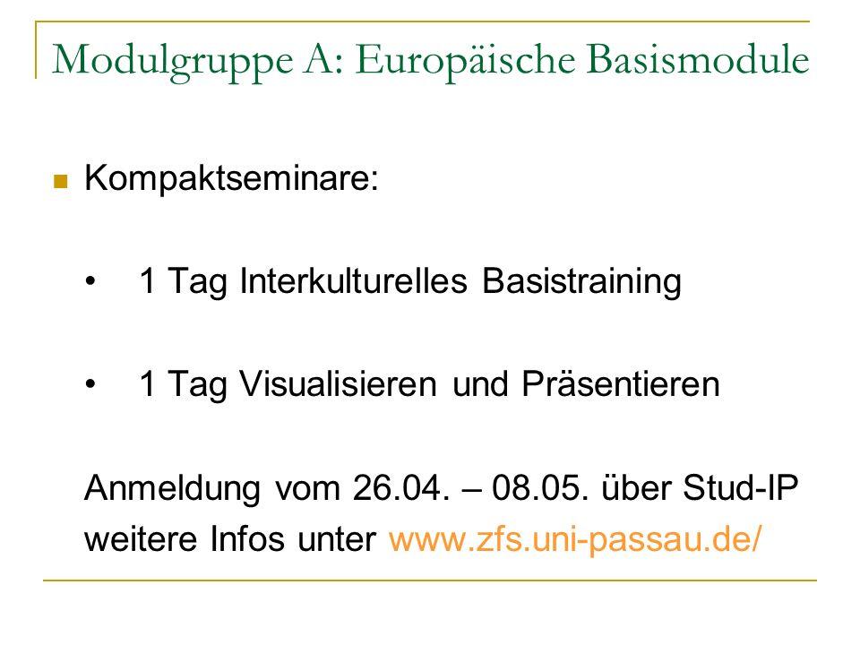 Modulgruppe A: Europäische Basismodule Kompaktseminare: 1 Tag Interkulturelles Basistraining 1 Tag Visualisieren und Präsentieren Anmeldung vom 26.04.