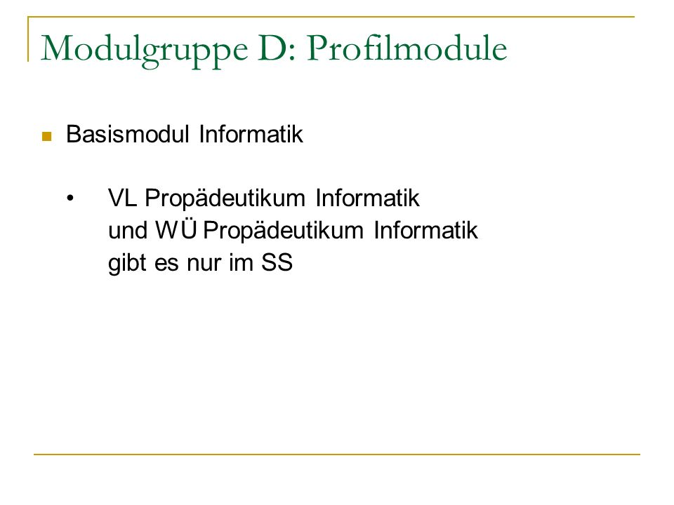 Modulgruppe D: Profilmodule Basismodul Informatik VL Propädeutikum Informatik und WÜ Propädeutikum Informatik gibt es nur im SS