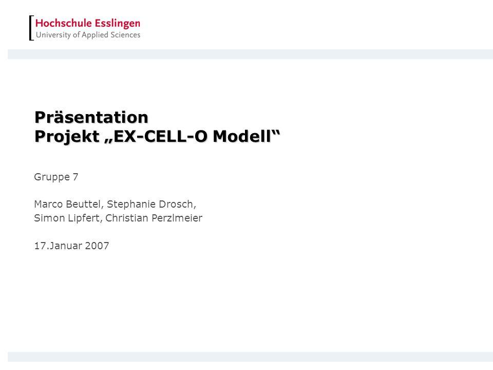 Präsentation Projekt EX-CELL-O Modell Gruppe 7 Marco Beuttel, Stephanie Drosch, Simon Lipfert, Christian Perzlmeier 17.Januar 2007
