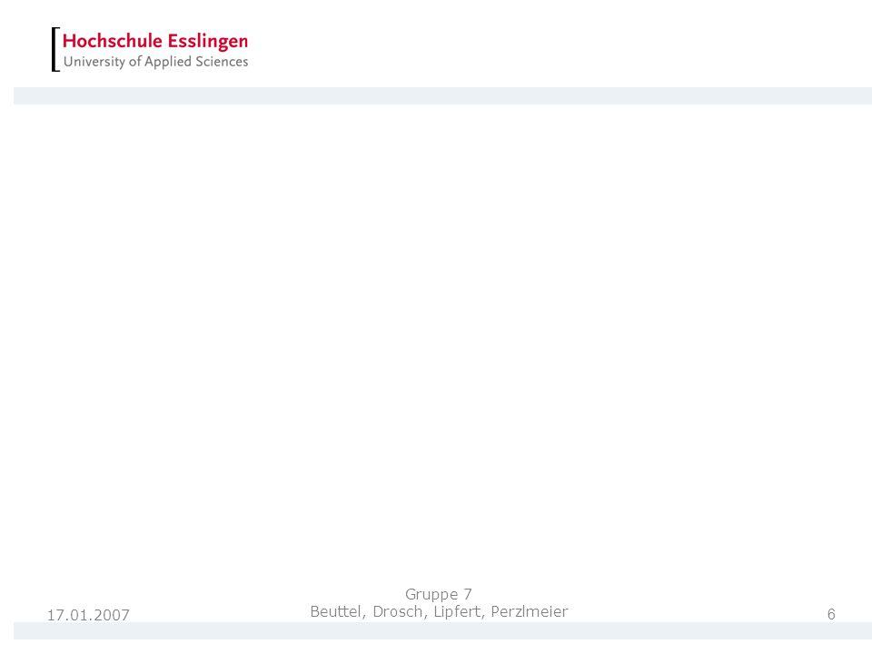 17.01.2007 7 Gruppe 7 Beuttel, Drosch, Lipfert, Perzlmeier Vielen Dank für Ihre Aufmerksamkeit!