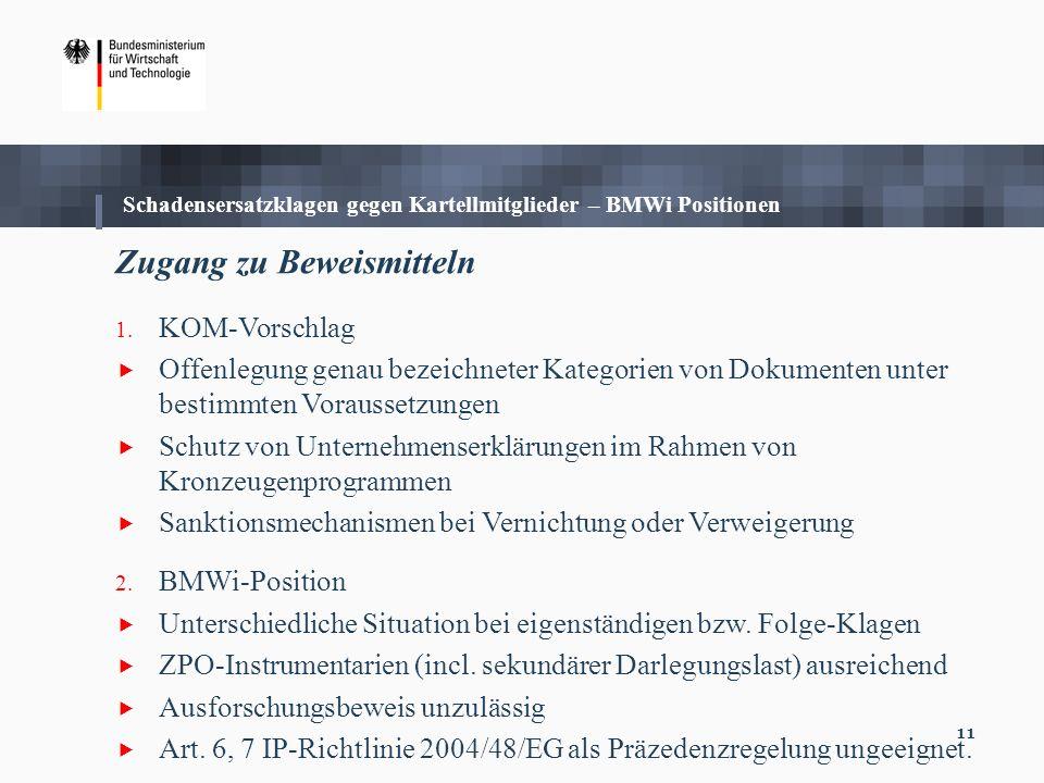 11 Zugang zu Beweismitteln 1. KOM-Vorschlag Offenlegung genau bezeichneter Kategorien von Dokumenten unter bestimmten Voraussetzungen Schutz von Unter