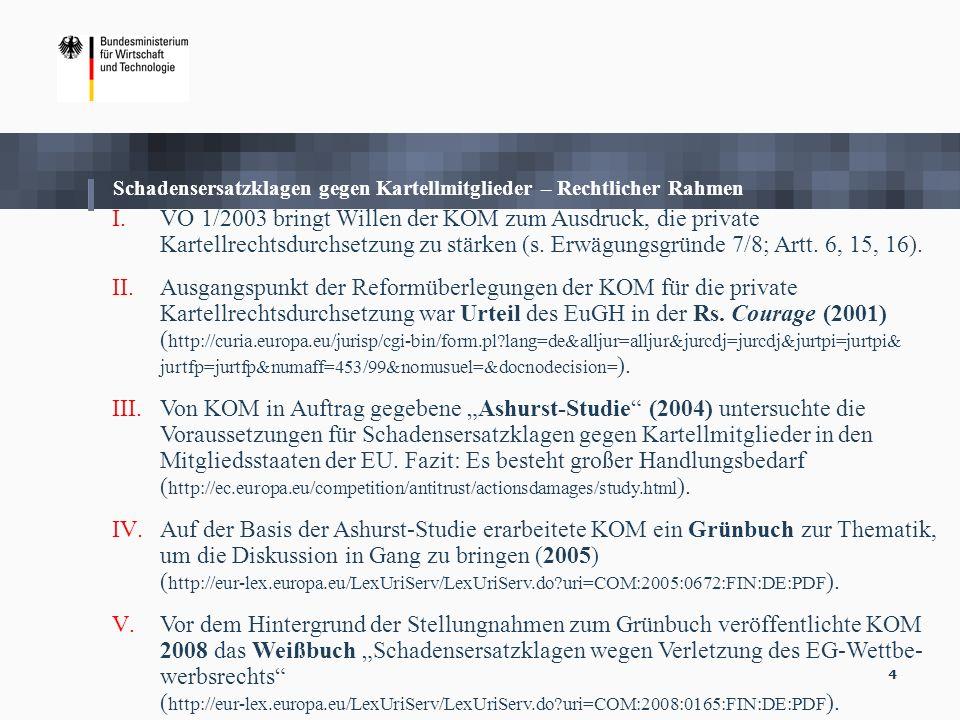 4 I.VO 1/2003 bringt Willen der KOM zum Ausdruck, die private Kartellrechtsdurchsetzung zu stärken (s. Erwägungsgründe 7/8; Artt. 6, 15, 16). II.Ausga