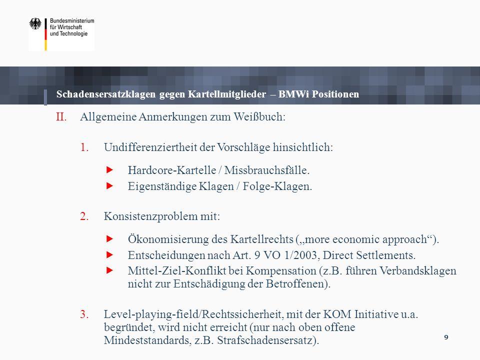 9 Schadensersatzklagen gegen Kartellmitglieder – BMWi Positionen II.Allgemeine Anmerkungen zum Weißbuch: 1.Undifferenziertheit der Vorschläge hinsicht