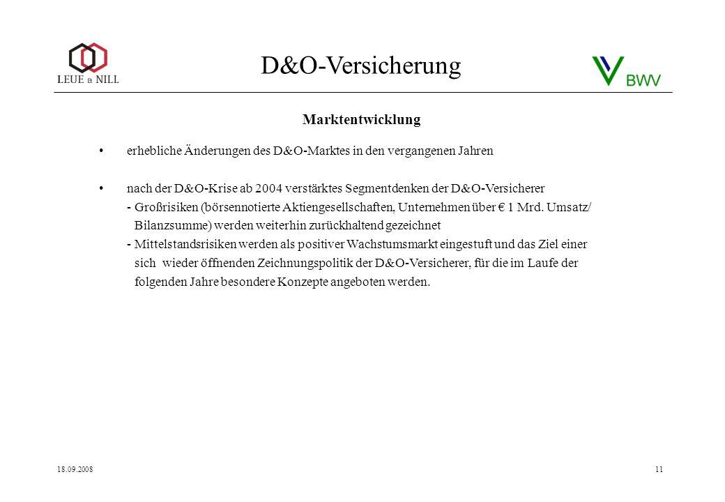 D&O-Versicherung 18.09.200811 erhebliche Änderungen des D&O-Marktes in den vergangenen Jahren nach der D&O-Krise ab 2004 verstärktes Segmentdenken der