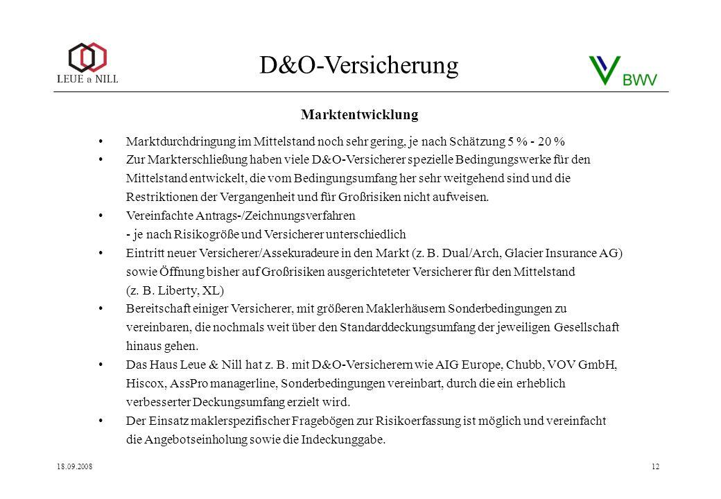 D&O-Versicherung 18.09.200812 Marktdurchdringung im Mittelstand noch sehr gering, je nach Schätzung 5 % - 20 % Zur Markterschließung haben viele D&O-V