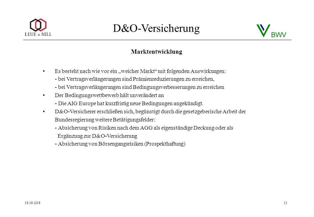 D&O-Versicherung 18.09.200813 Es besteht nach wie vor ein weicher Markt mit folgenden Auswirkungen: - bei Vertragsverlängerungen sind Prämienreduzieru