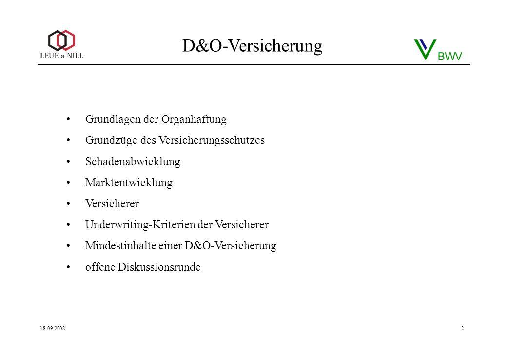 D&O-Versicherung 18.09.20082 Grundlagen der Organhaftung Grundzüge des Versicherungsschutzes Schadenabwicklung Marktentwicklung Versicherer Underwriti