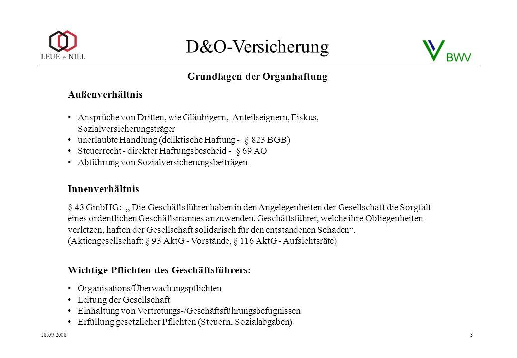 D&O-Versicherung 18.09.20083 Außenverhältnis Ansprüche von Dritten, wie Gläubigern, Anteilseignern, Fiskus, Sozialversicherungsträger unerlaubte Handl