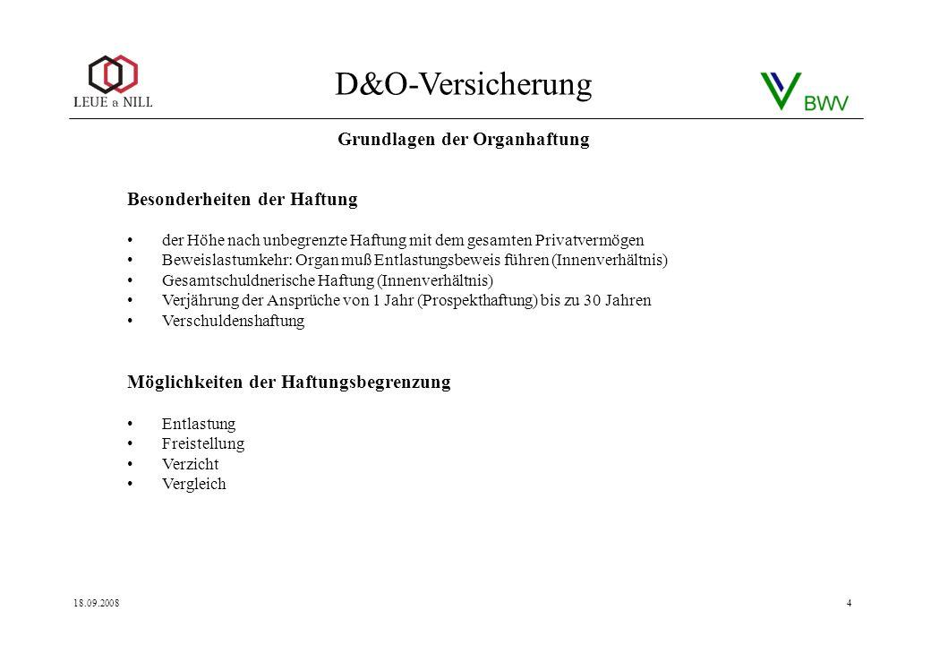 D&O-Versicherung 18.09.20084 Besonderheiten der Haftung der Höhe nach unbegrenzte Haftung mit dem gesamten Privatvermögen Beweislastumkehr: Organ muß