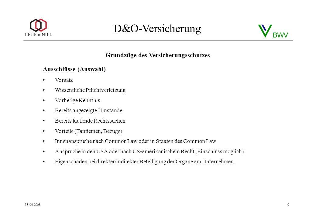 D&O-Versicherung 18.09.20089 Ausschlüsse (Auswahl) Vorsatz Wissentliche Pflichtverletzung Vorherige Kenntnis Bereits angezeigte Umstände Bereits laufe