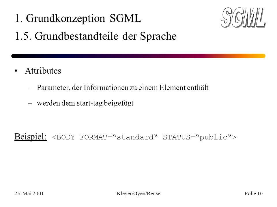25. Mai 2001Kleyer/Oyen/ReuseFolie 10 1. Grundkonzeption SGML 1.5.