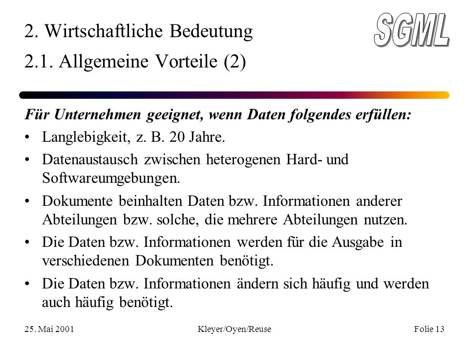 25. Mai 2001Kleyer/Oyen/ReuseFolie 13 2. Wirtschaftliche Bedeutung 2.1.