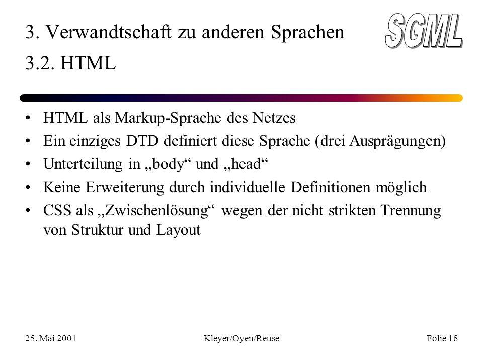 25. Mai 2001Kleyer/Oyen/ReuseFolie 18 3. Verwandtschaft zu anderen Sprachen 3.2.